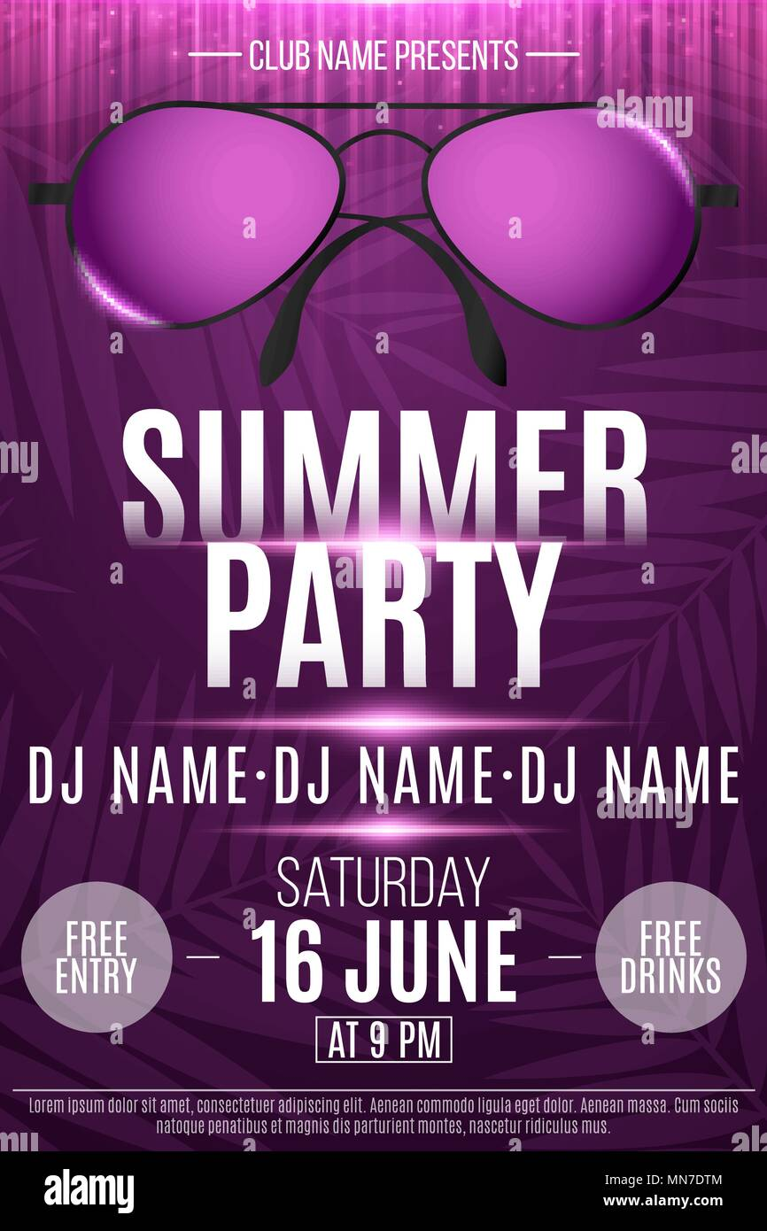 flyer for a summer party beach sunglasses with neon glow purple