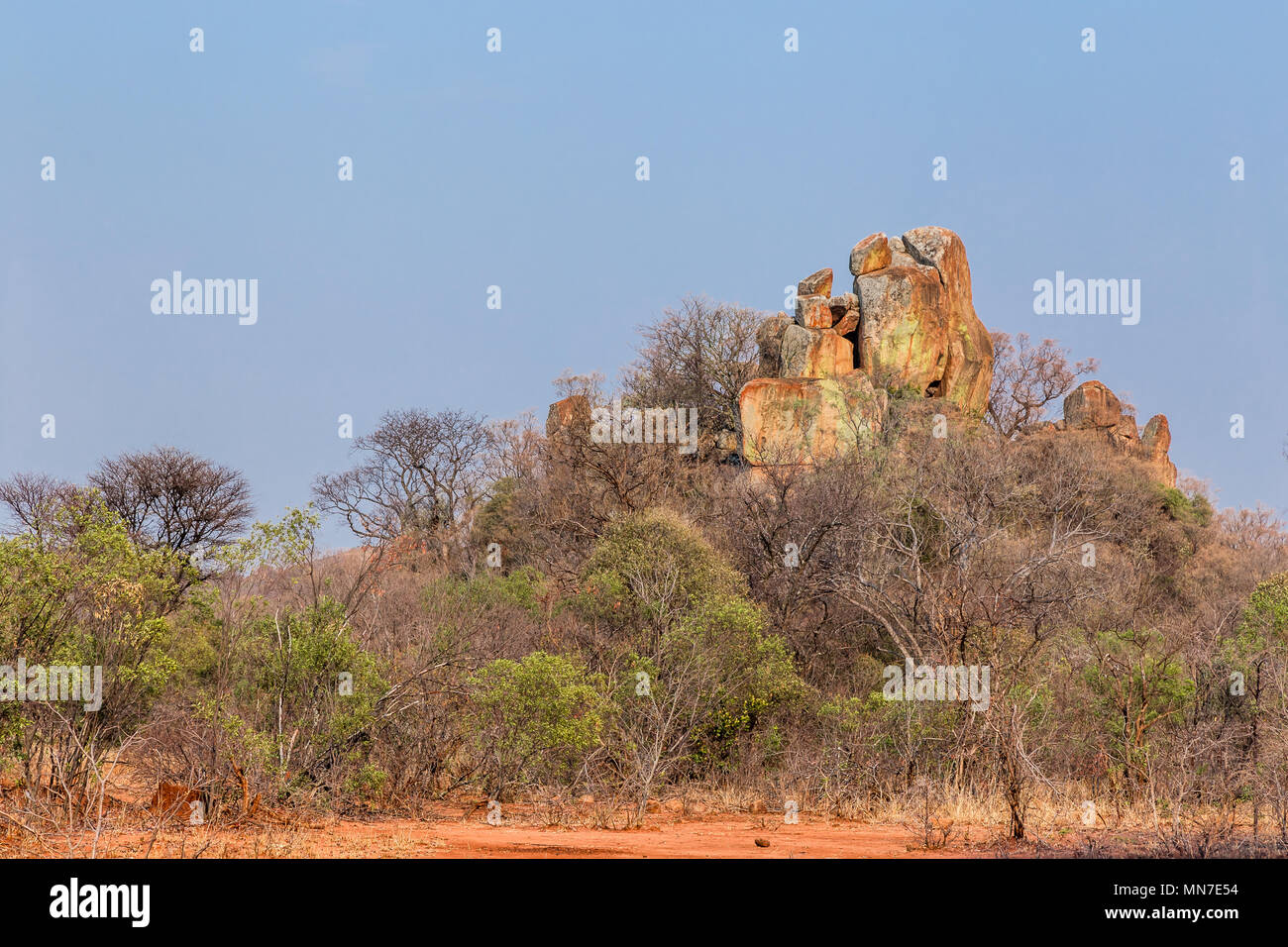 Balancing rocks in Matobo National Park, Zimbabwe, formed by millions of years of weathering. - Stock Image