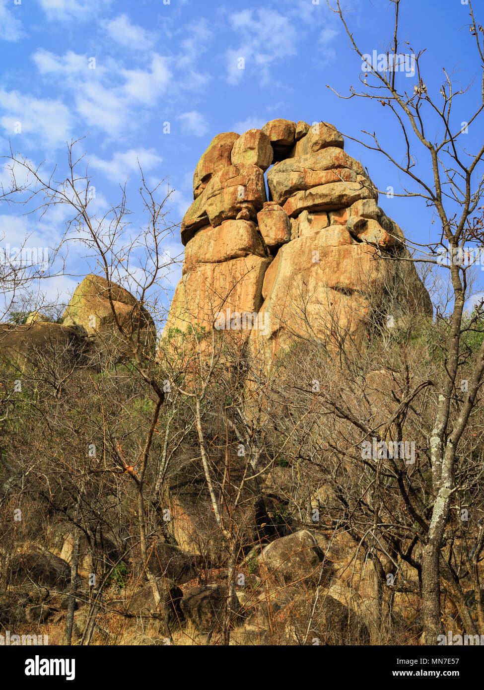 Balancing rocks in Matobo National Park, Zimbabwe, formed by millions of years of weathering. September 26, 2016. - Stock Image
