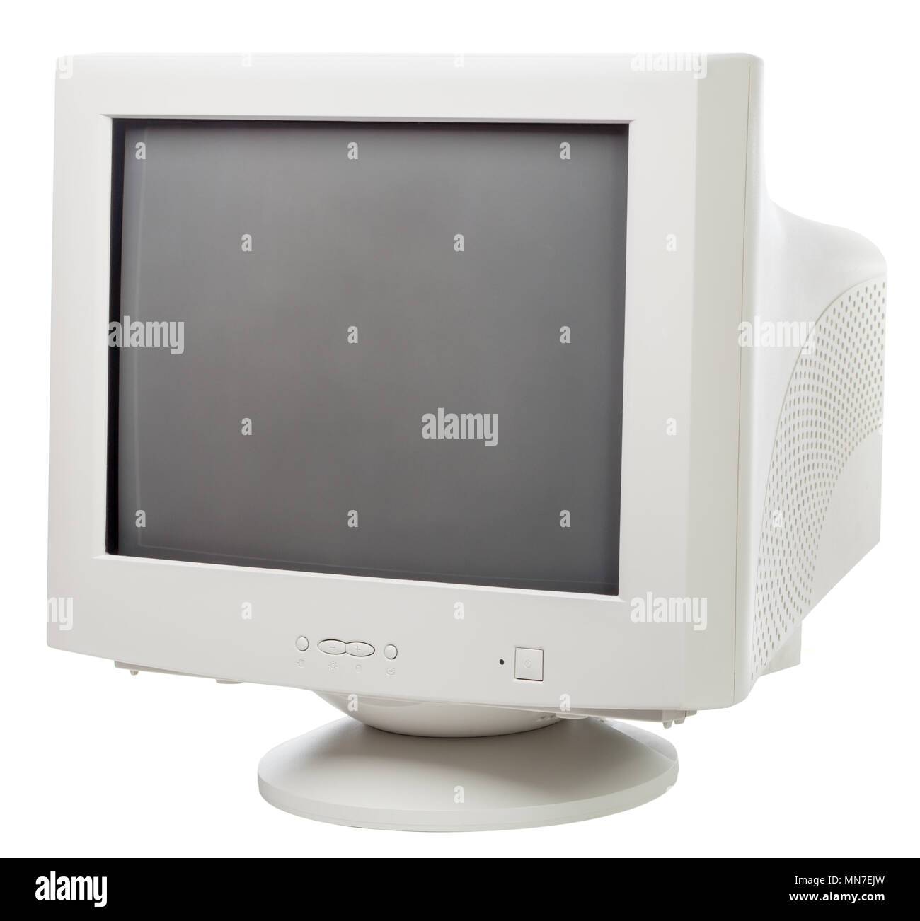 Vintage CRT computer monitor with black screen isolated on white ...