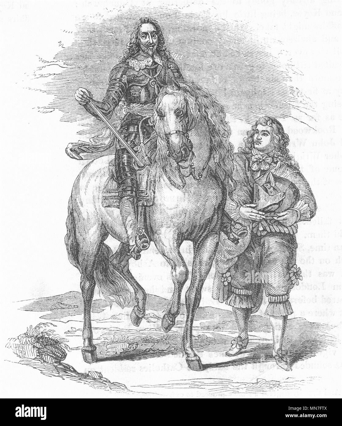 ROYALTY. Charles I & Armour-bearer(Vandyke) 1845 old antique print picture - Stock Image