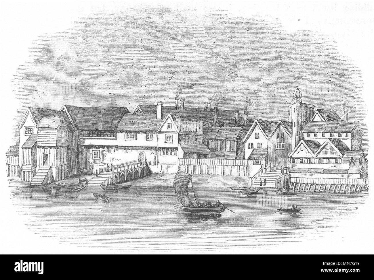 GERMAN MERCHANTS WHARF. Thames St steel Yd 1641 1845 old antique print picture - Stock Image