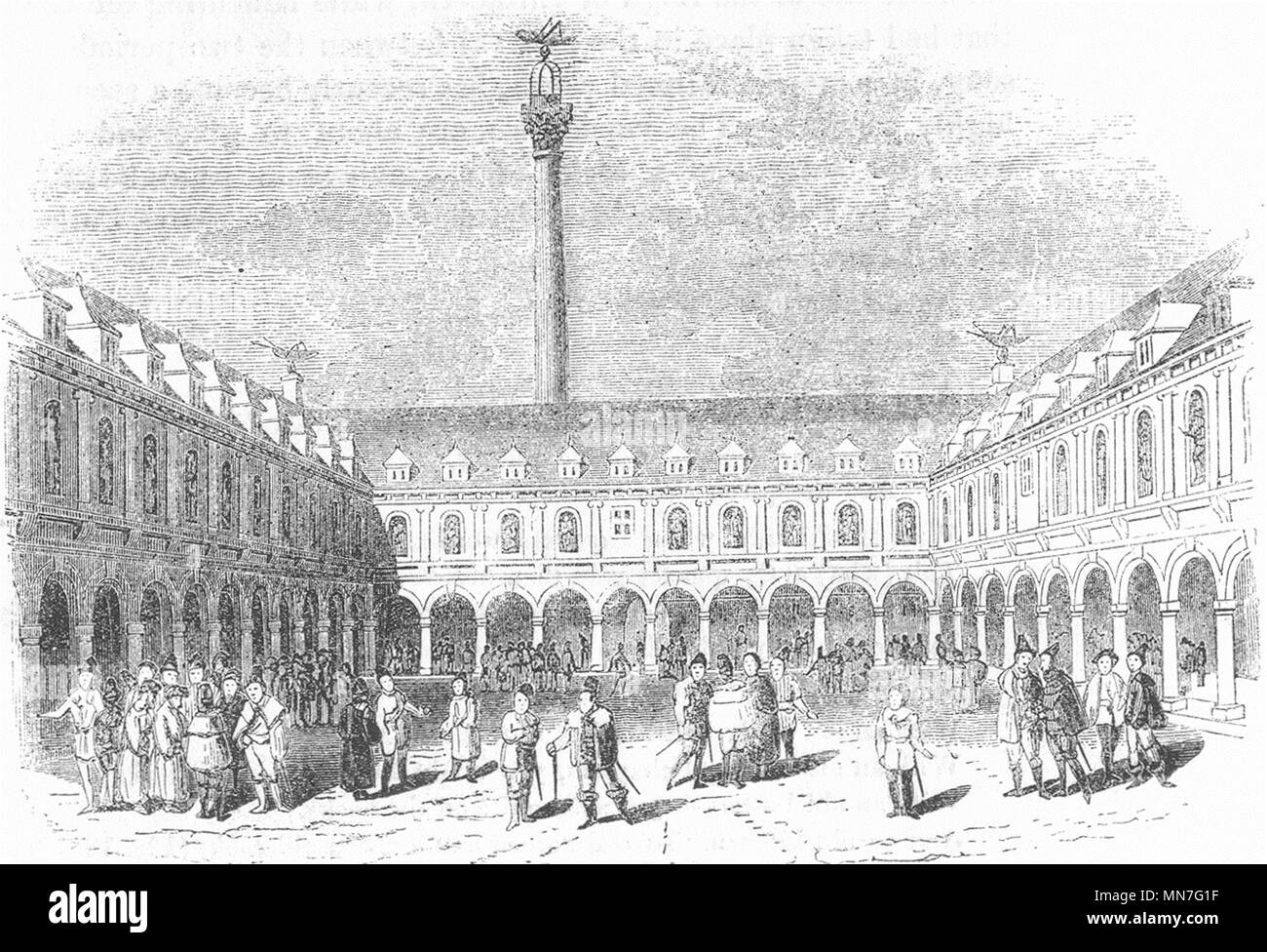 LONDON. Thomas Greshams Exchange(Guildhall) 1845 old antique print picture - Stock Image