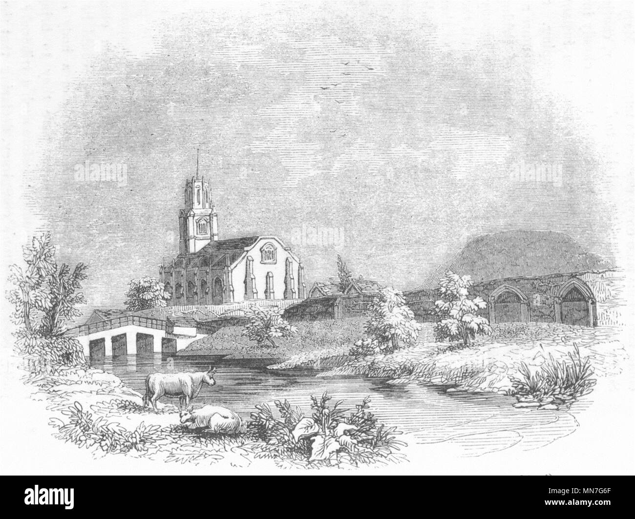 NORTHANTS. Fotheringay 1718 1845 old antique vintage print picture Stock Photo