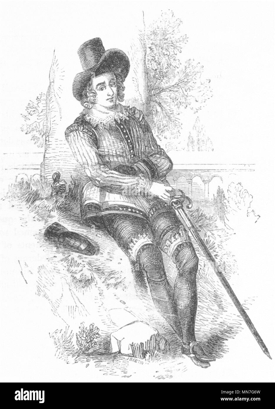 POETS. Sir Philip Sidney 1845 old antique vintage print picture - Stock Image