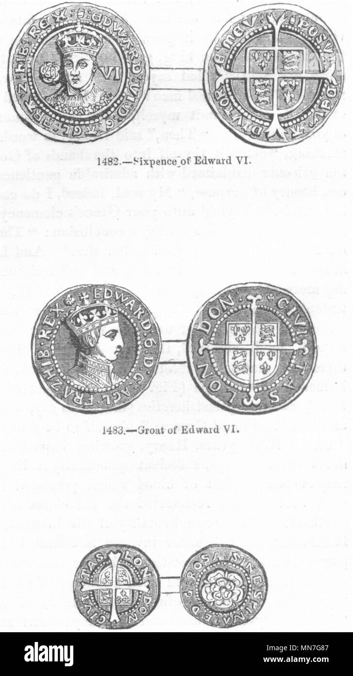 KINGS. Sixpence of Edward VI; Groat; Penny 1845 old antique print picture - Stock Image