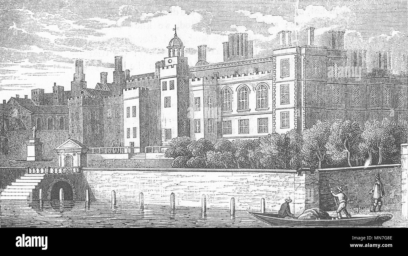 LONDON. Old Somerset House 1845 antique vintage print picture - Stock Image