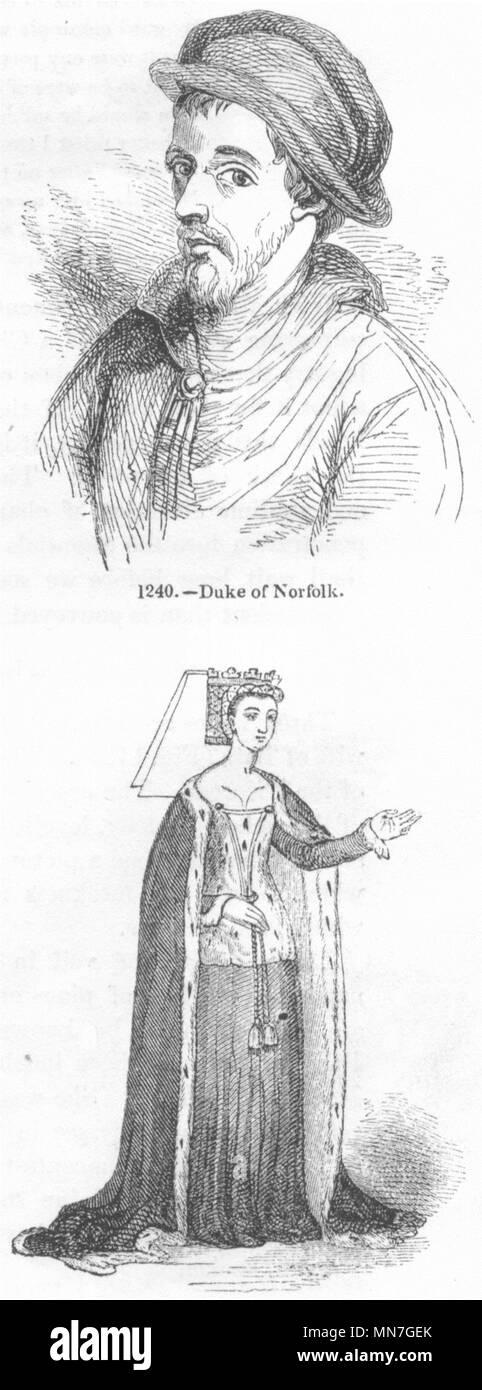 ROYALTY. Duke Norfolk; Anne, Queen of Richard III 1845 old antique print - Stock Image