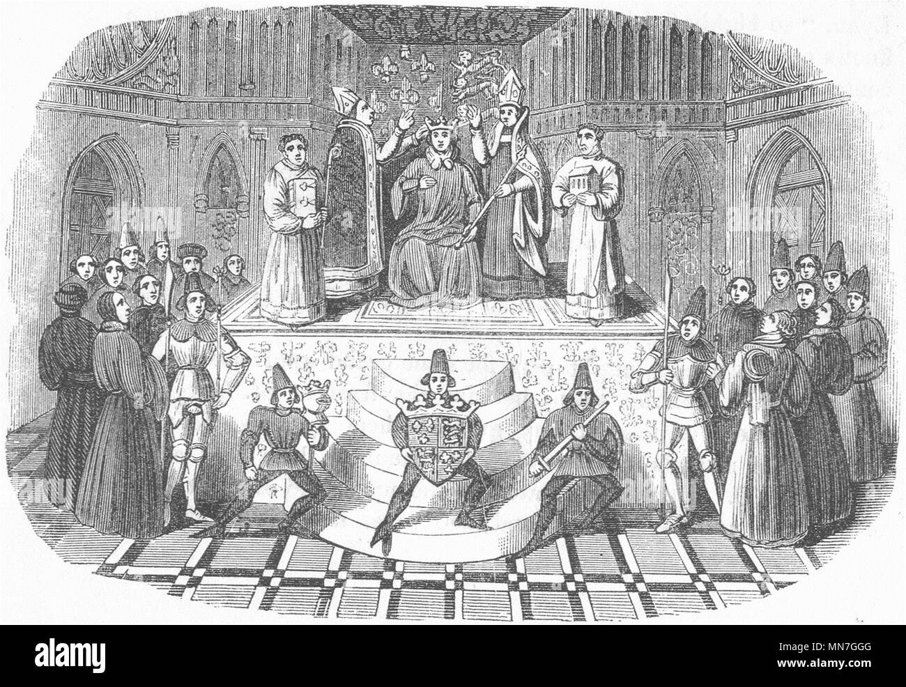 ROYALTY. Coronation of Henry IV(No) 1845 old antique vintage print picture - Stock Image