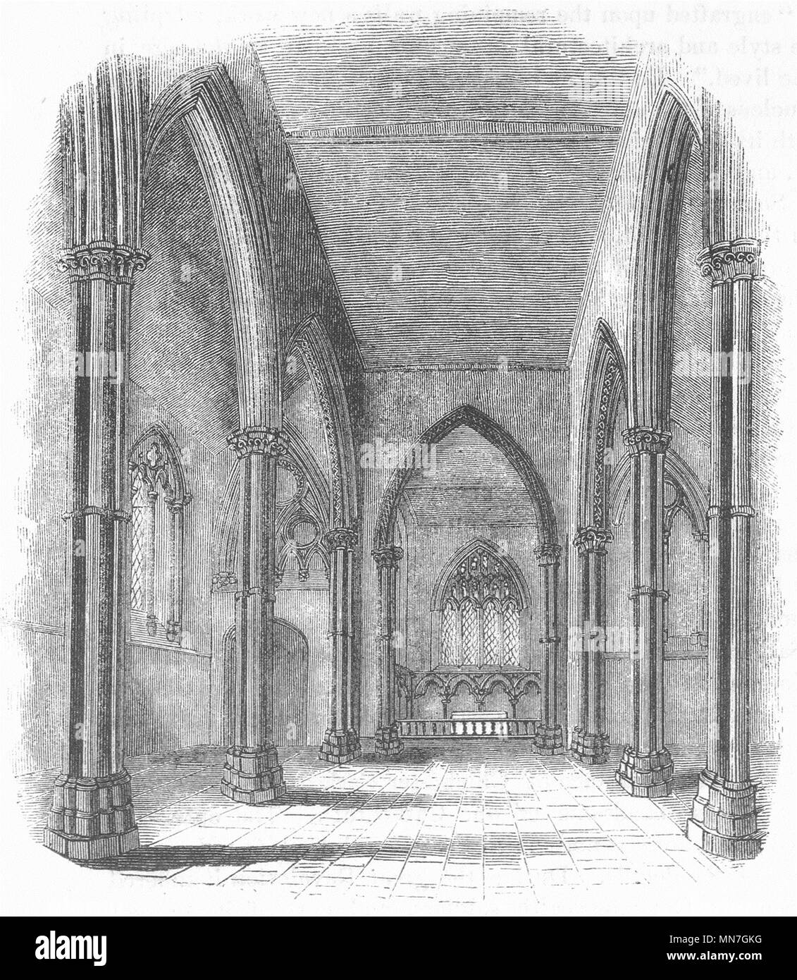 CHURCHES. Stone Church. Nave & Chancel 1845 old antique vintage print picture - Stock Image