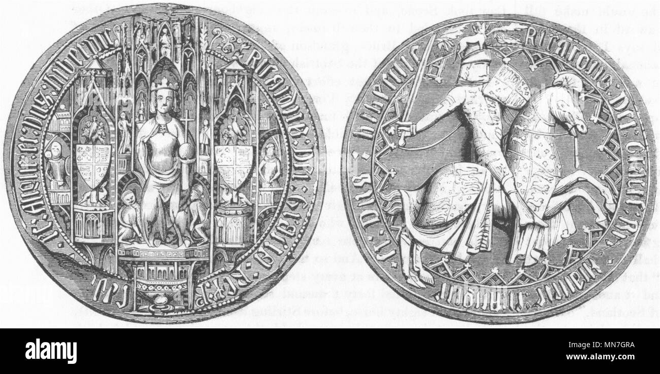 DECORATIVE. Great seal of Richard II 1845 old antique vintage print picture - Stock Image