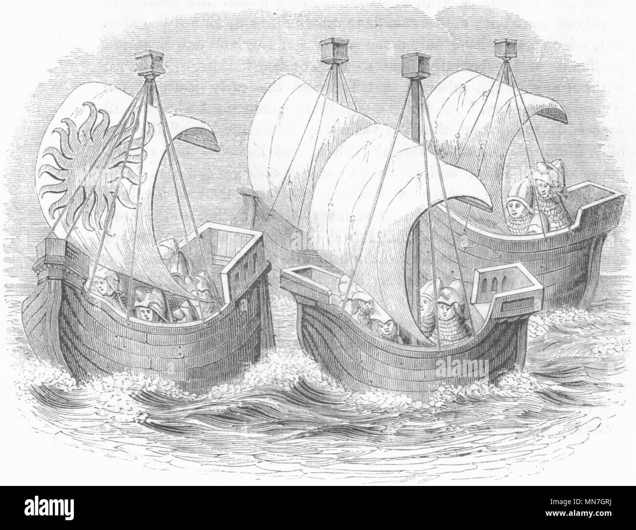 SHIPS. Richard II  1845 old antique vintage print picture - Stock Image