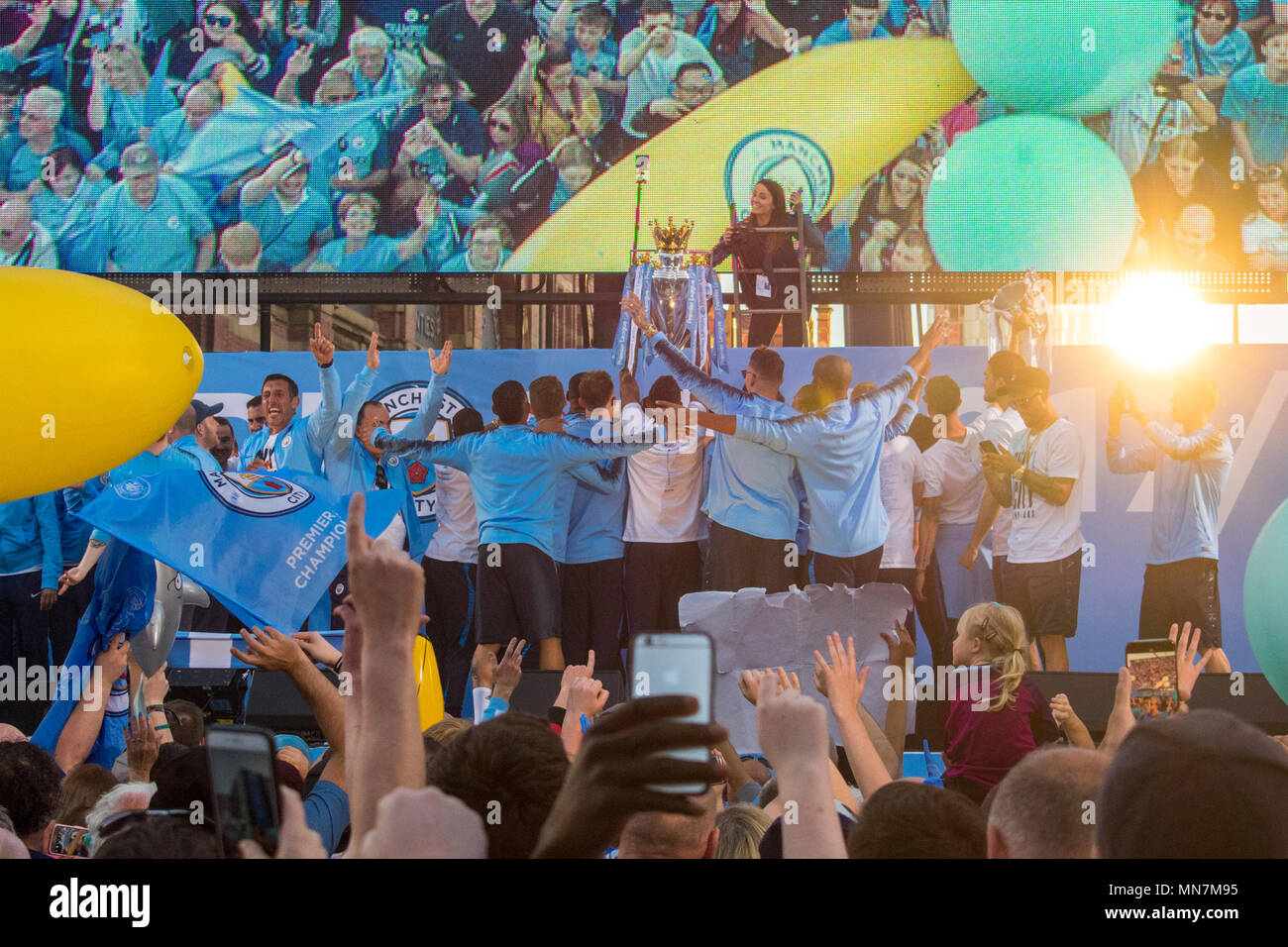 14 May 2018 - Manchester City football club celebrate their Premier League victory in a parade through Manchester. Manchester based band Blossoms also performed for fans. - Stock Image