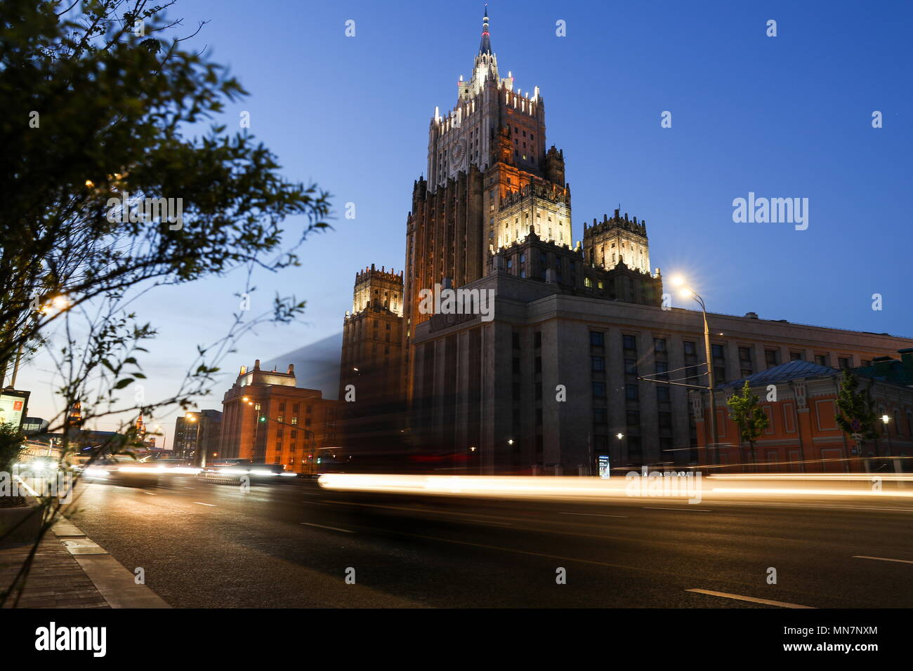 Moscow, Russia. 14th May, 2018. MOSCOW, RUSSIA - MAY 14, 2018: A view of the Russian Foreign Ministry headquarters in central Moscow, the building being one of the so-called Seven Sisters known to belong to Stalinist architecture. Sergei Savostyanov/TASS Credit: ITAR-TASS News Agency/Alamy Live News Stock Photo