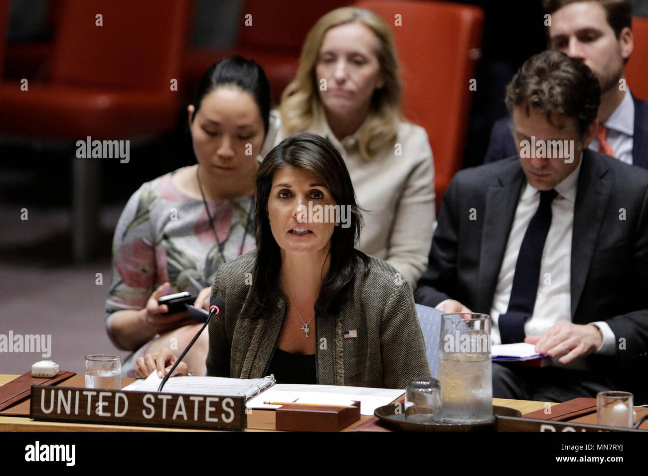 Unied Nations, UN headquarters in New York. 14th May, 2018. U.S. Permanent Representative to the United Nations Nikki Haley (front) speaks during the Security Council meeting on its mission to Bangladesh and Myanmar, at the UN headquarters in New York, May 14, 2018. Credit: Li Muzi/Xinhua/Alamy Live News - Stock Image