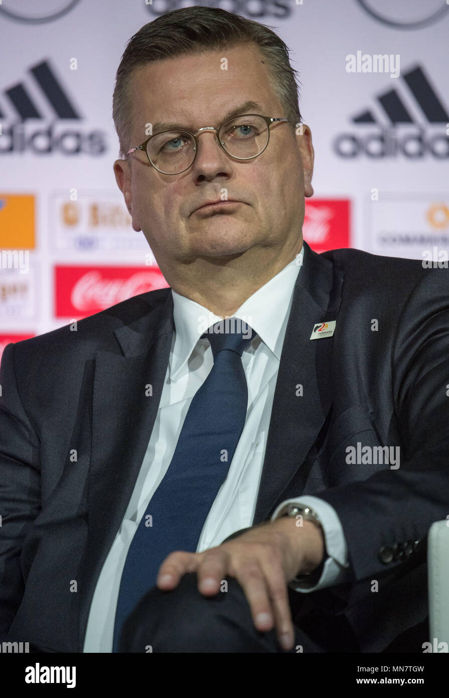 15 May 2018, Germany, Dortmund: soccer, World Cup, German national team, announcement of the preliminary World Cup squad of the German national team for the World Cup in Russia: President of the German Football Association (DFB), Reinhard Grindel, attending the press conference. Photo: Federico Gambarini/dpa Credit: dpa picture alliance/Alamy Live News - Stock Image