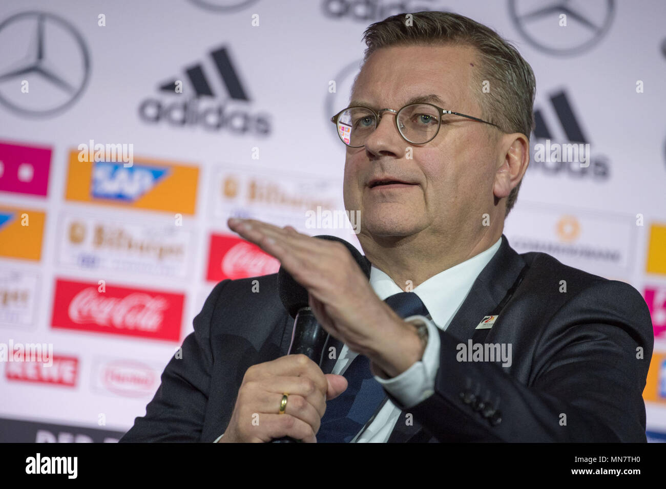 15 May 2018, Germany, Dortmund: soccer, World Cup, German national team, announcement of the preliminary World Cup squad of the German national team for the World Cup in Russia: President of the German Football Association (DFB), Reinhard Grindel, speaking during the press conference. Photo: Federico Gambarini/dpa Credit: dpa picture alliance/Alamy Live News - Stock Image