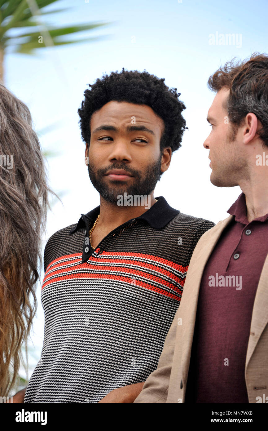 Roma, Italy. 15th May, 2018. 71st Cannes Film Festival 2018, Photocall film ''Solo A Star Wars Story '' Pictured: Donald Glover Credit: Independent Photo Agency/Alamy Live News - Stock Image