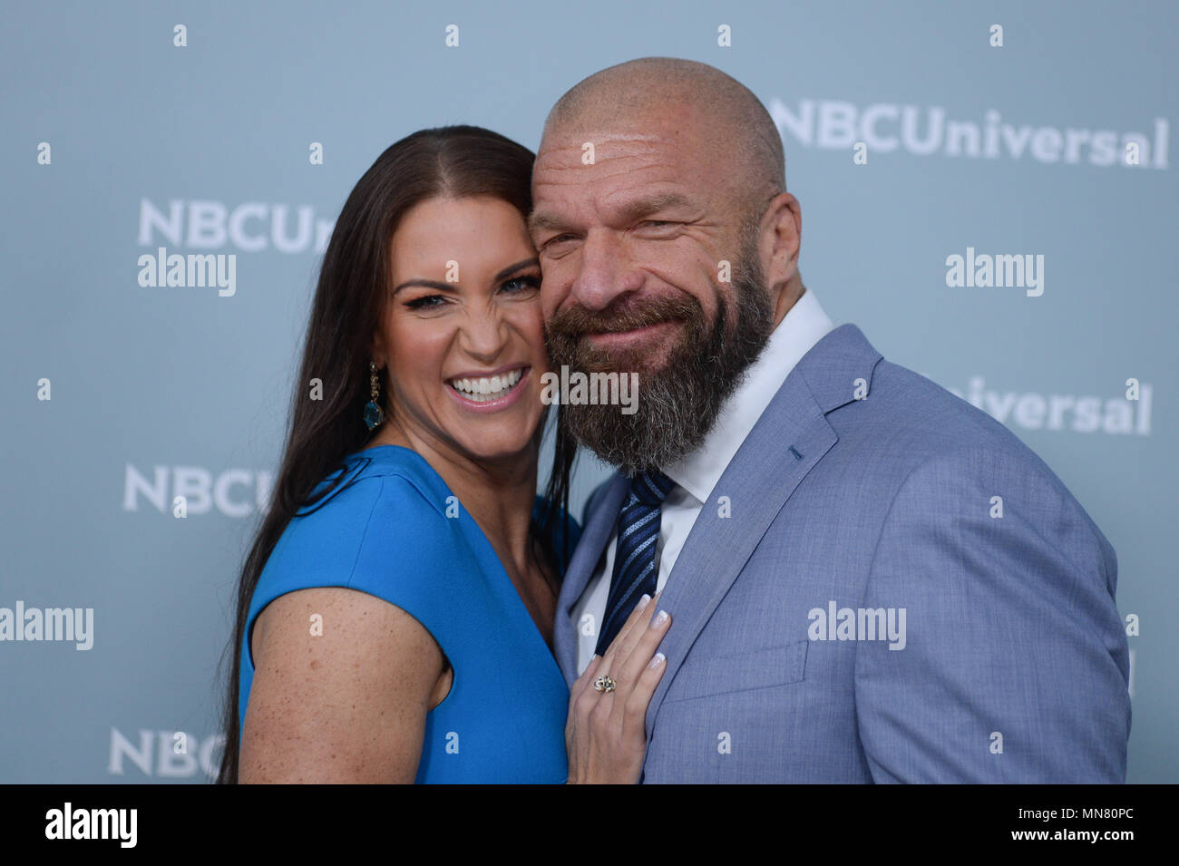 Stephanie McMahon and Triple H attend the Unequaled NBCUniversal Upfront campaign at Radio City Music Hall on May 14, 2018 in New York. - Stock Image
