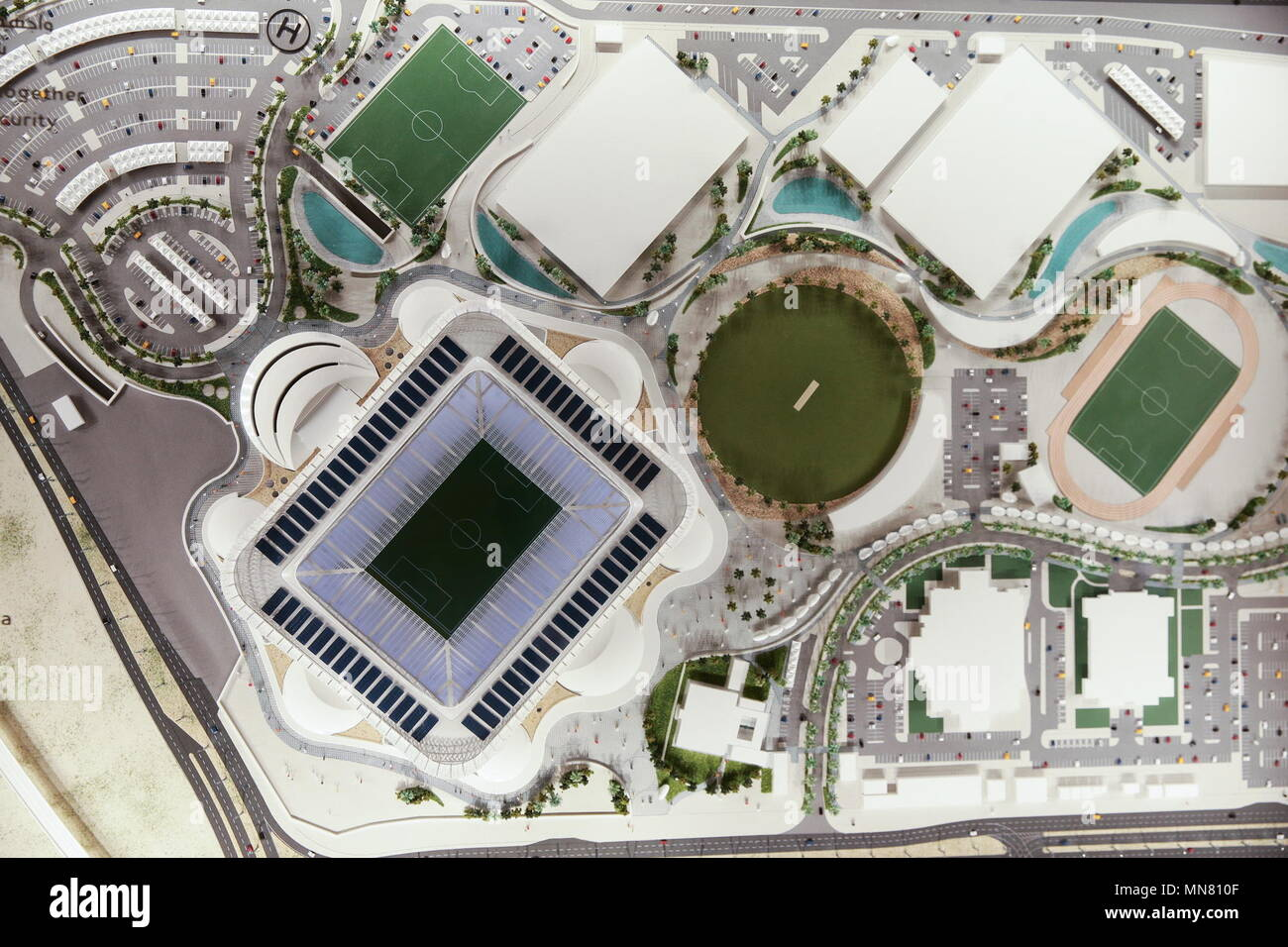 Doha, Qatar. 13th May, 2018. DOHA, QATAR - MAY 13, 2018: A mock-up of Ahmed bin Ali Stadium, a venue for 2022 FIFA World Cup football matches, in the city of Al Rayyan, seen at the Headquarters of the Qatar 2022 Local Organising Committee (LOC). Mikhail Aleksandrov/TASS Credit: ITAR-TASS News Agency/Alamy Live News Stock Photo
