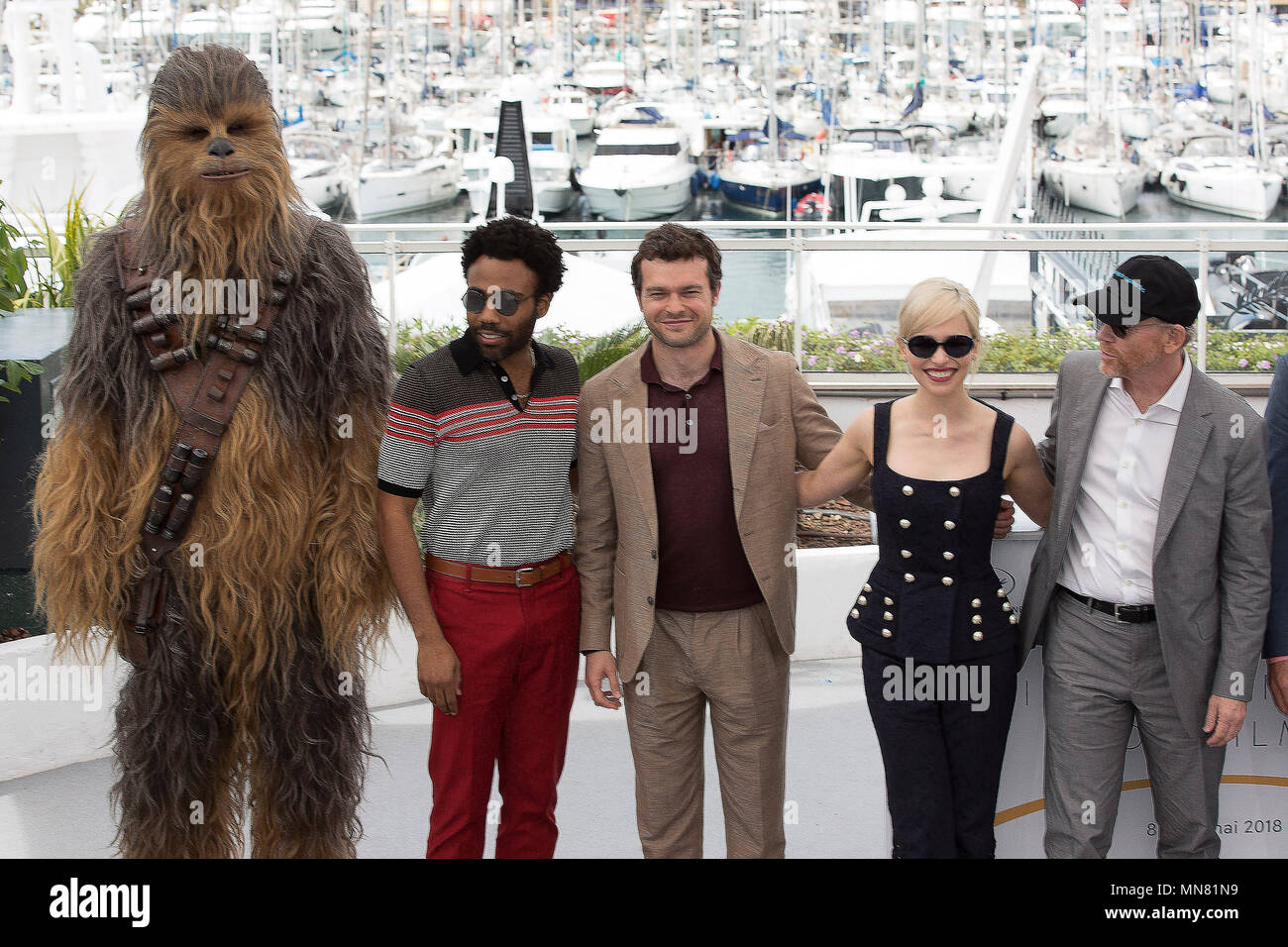 Cannes, France. 15th May 2018. (L-R) Chewbacca (in costume), Donald Glover, Alden Ehrenreich, Emilia Clarke, director Ron Howard at the 'Solo: A Star Wars Story' photocall during the 71st Cannes Film Festival at the Palais des Festivals on May 15, 2018 in Cannes, France. Credit: John Rasimus/Media Punch ***FRANCE, SWEDEN, NORWAY, DENARK, FINLAND, USA, CZECH REPUBLIC, SOUTH AMERICA ONLY*** Credit: MediaPunch Inc/Alamy Live News - Stock Image