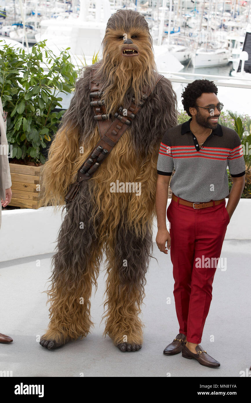 Cannes, France. 15th May 2018. Chewbacca and Donald Glover at the 'Solo: A Star Wars Story' photocall during the 71st Cannes Film Festival at the Palais des Festivals on May 15, 2018 in Cannes, France. Credit: John Rasimus/Media Punch ***FRANCE, SWEDEN, NORWAY, DENARK, FINLAND, USA, CZECH REPUBLIC, SOUTH AMERICA ONLY*** Credit: MediaPunch Inc/Alamy Live News - Stock Image