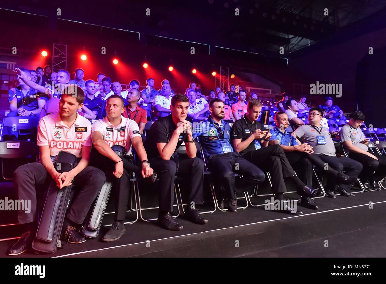 Shanghai, China. 15th May 2018. The international players during WORLD CUP of POOL 2018: OPENING CEREMONY at Luwan (Gymnasium) Arena on Tuesday, 15 May 2018. SHANGHAI, CHINA. Credit: Taka G Wu Credit: Taka Wu/Alamy Live News - Stock Image