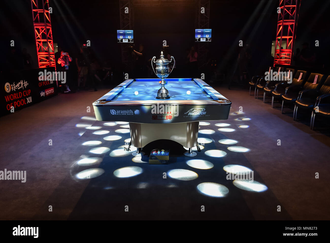 Shanghai, China. 15th May 2018. The official match cup shown on the Pool table during WORLD CUP of POOL 2018: OPENING CEREMONY at Luwan (Gymnasium) Arena on Tuesday, 15 May 2018. SHANGHAI, CHINA. Credit: Taka G Wu Credit: Taka Wu/Alamy Live News - Stock Image