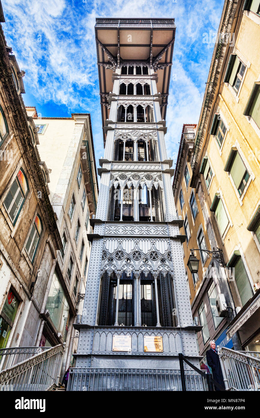 27 February 2018: Lisbon, Portugal - Santa Justa Lift, or Elevator. - Stock Image