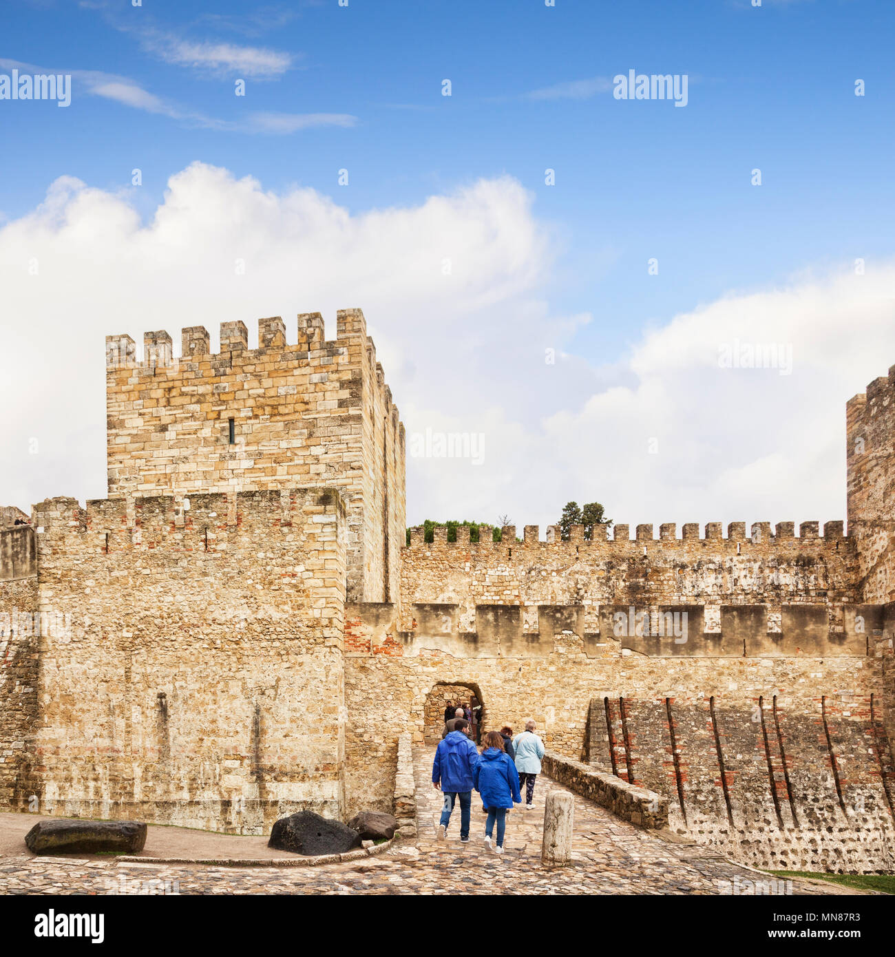 1 March 2018: Lisbon Portugal - Tourists entering Castle of St George. - Stock Image
