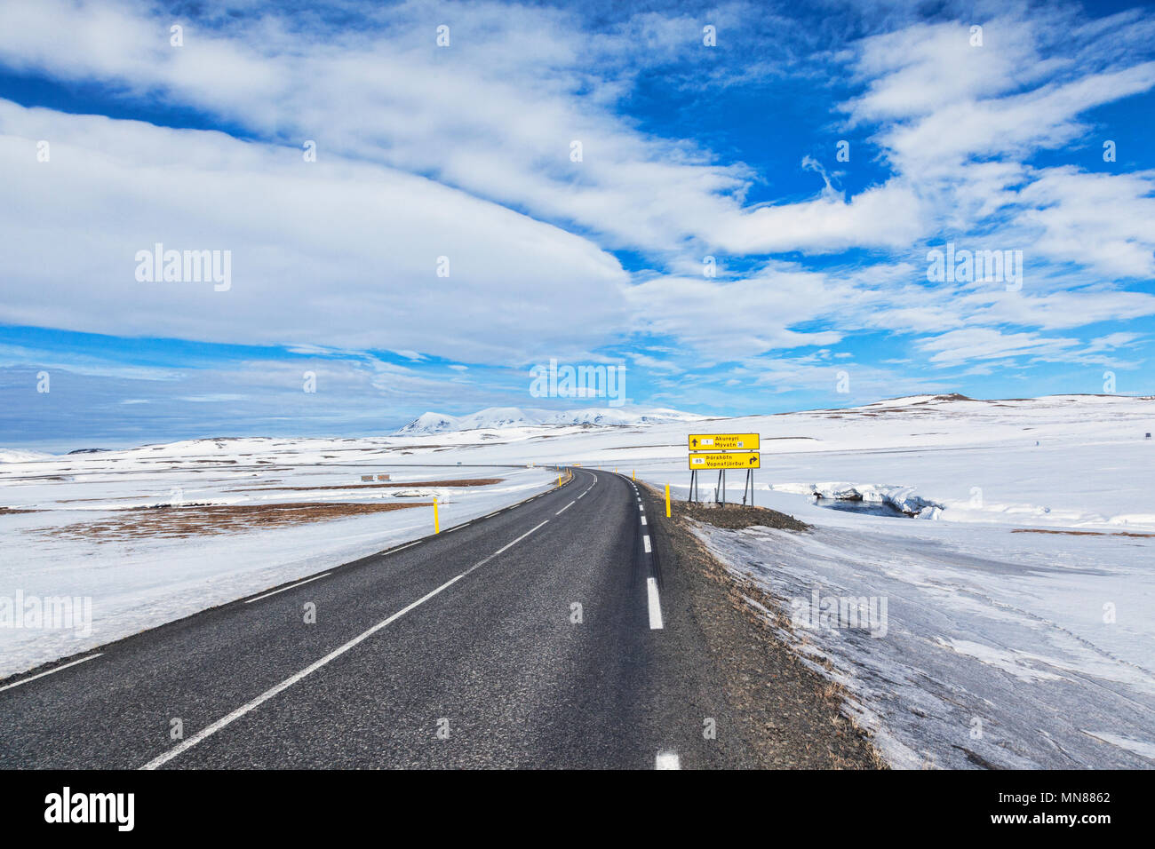 The Iceland Ring Road in North East Iceland, and a road sign for Akureyri. Stock Photo