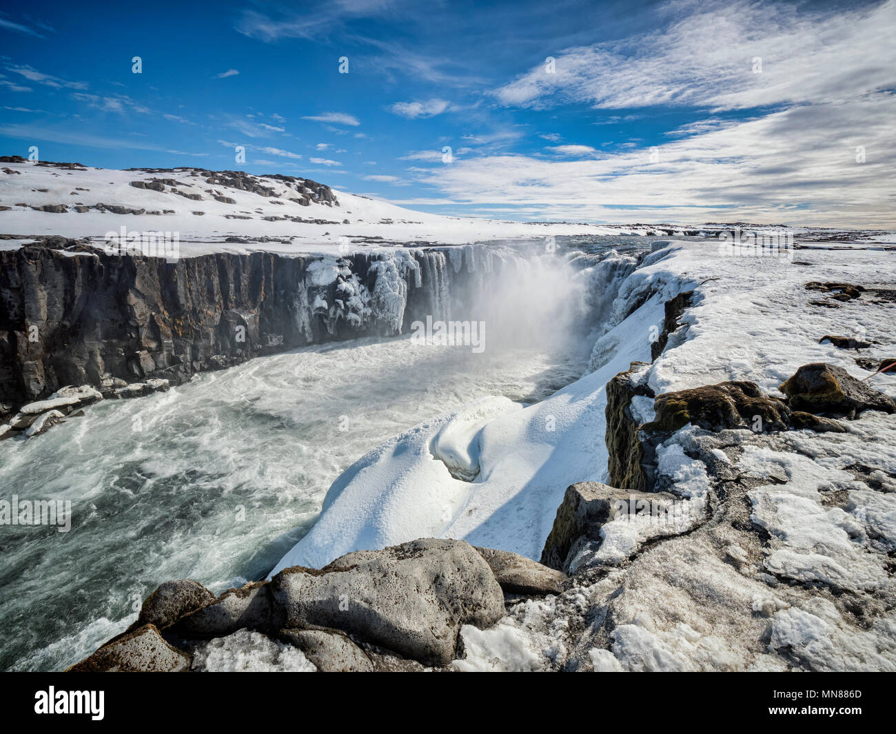 Selfoss waterfall on the Jokulsa a Fjollum river in Northern Iceland, upstream from the Dettifoss falls. - Stock Image