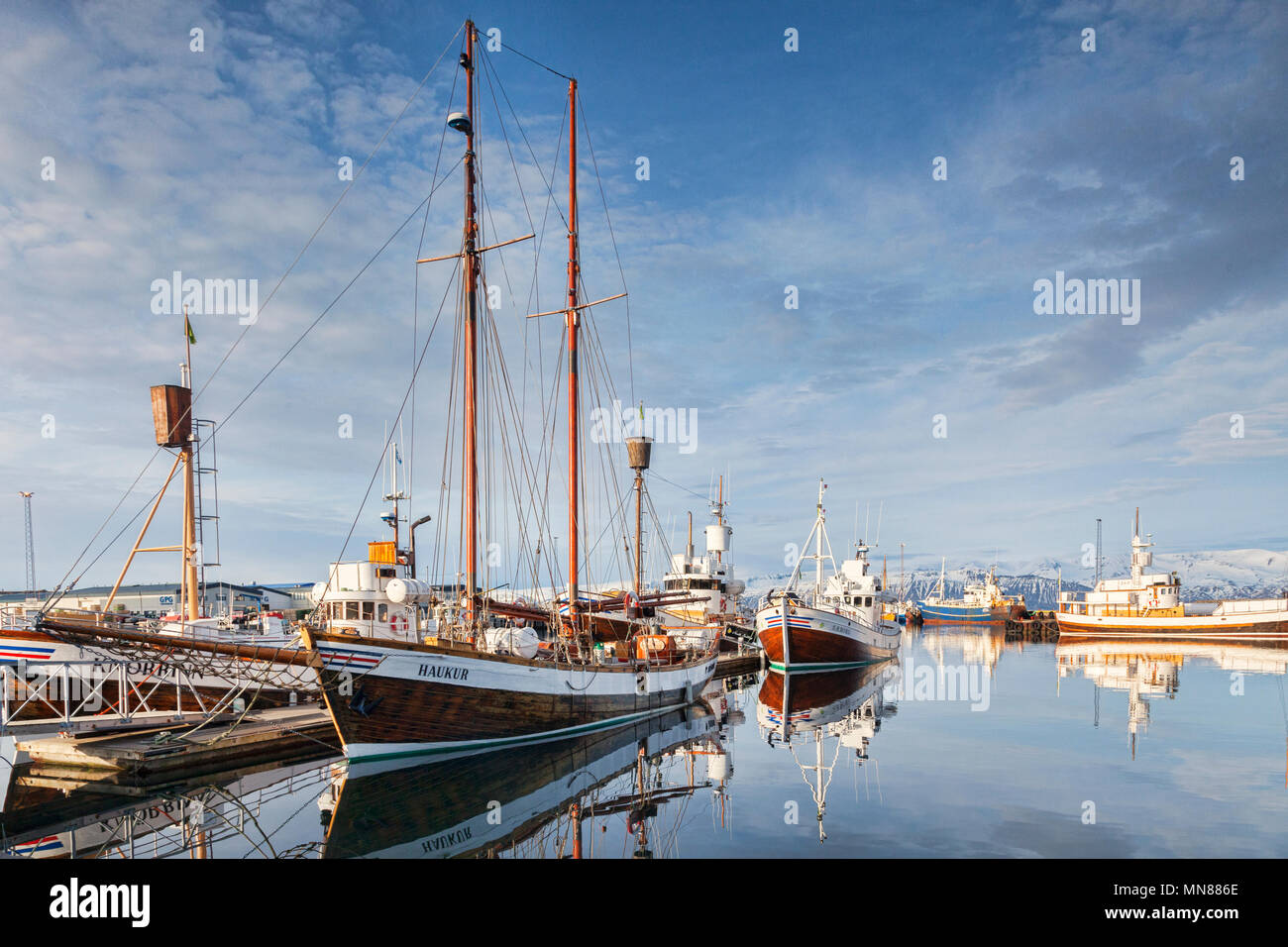 13 April 2018: Husavik, Iceland. The harbour at Husavik in Northern Iceland, with whale-watching vessels reflected in the calm water. - Stock Image