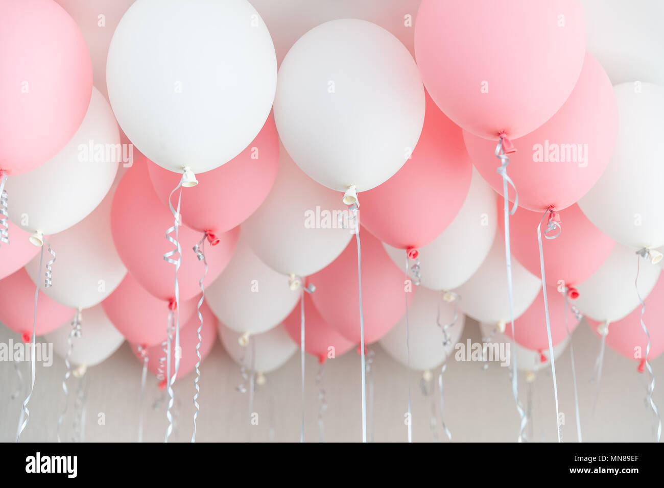 Colourful Balloons Pink White Streamers Helium Ballon Floating In Birthday Party Concept Balloon Of Love And Valentine