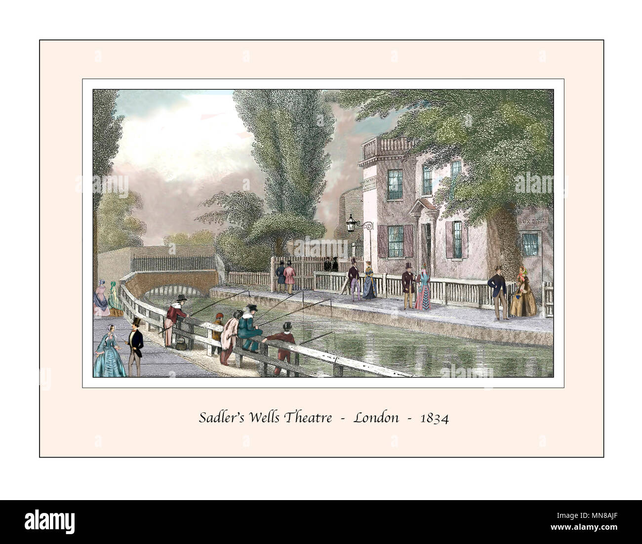 Sadler's Wells Theatre London Original Design based on a 19th century Engraving - Stock Image
