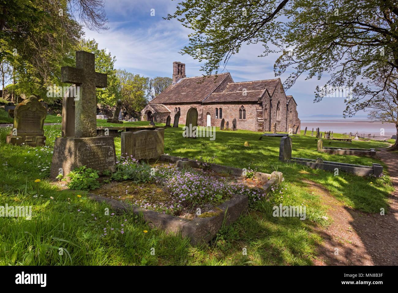 St Peter's Church, Heysham Village, Morecambe Bay, Lancashire, UK Stock Photo