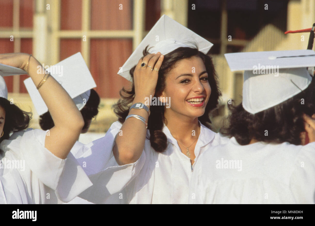 Princess Farahnaz Pahlavi, exiled royal Iranian Princess, eldest daughter of Mohammad Reza Pahlavi by his third wife Farah Diba, at her graduation from the Cairo American College High School in 1980. - Stock Image