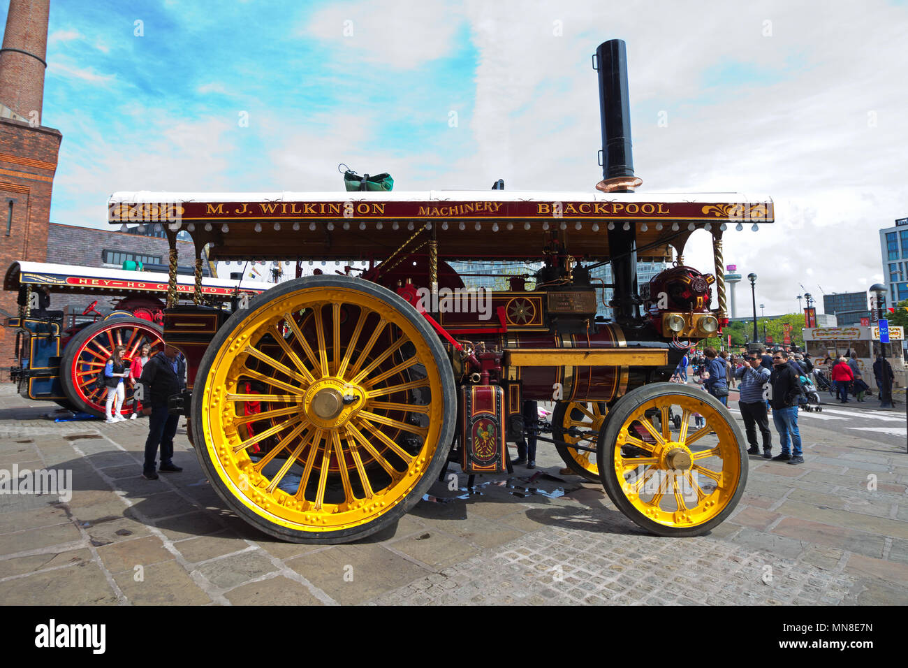 Foden Showmans Road Locomotive 2104, 'Prospector' at the 'Steam on the Dock' event at the Albert Dock Liverpool in May 2018. - Stock Image