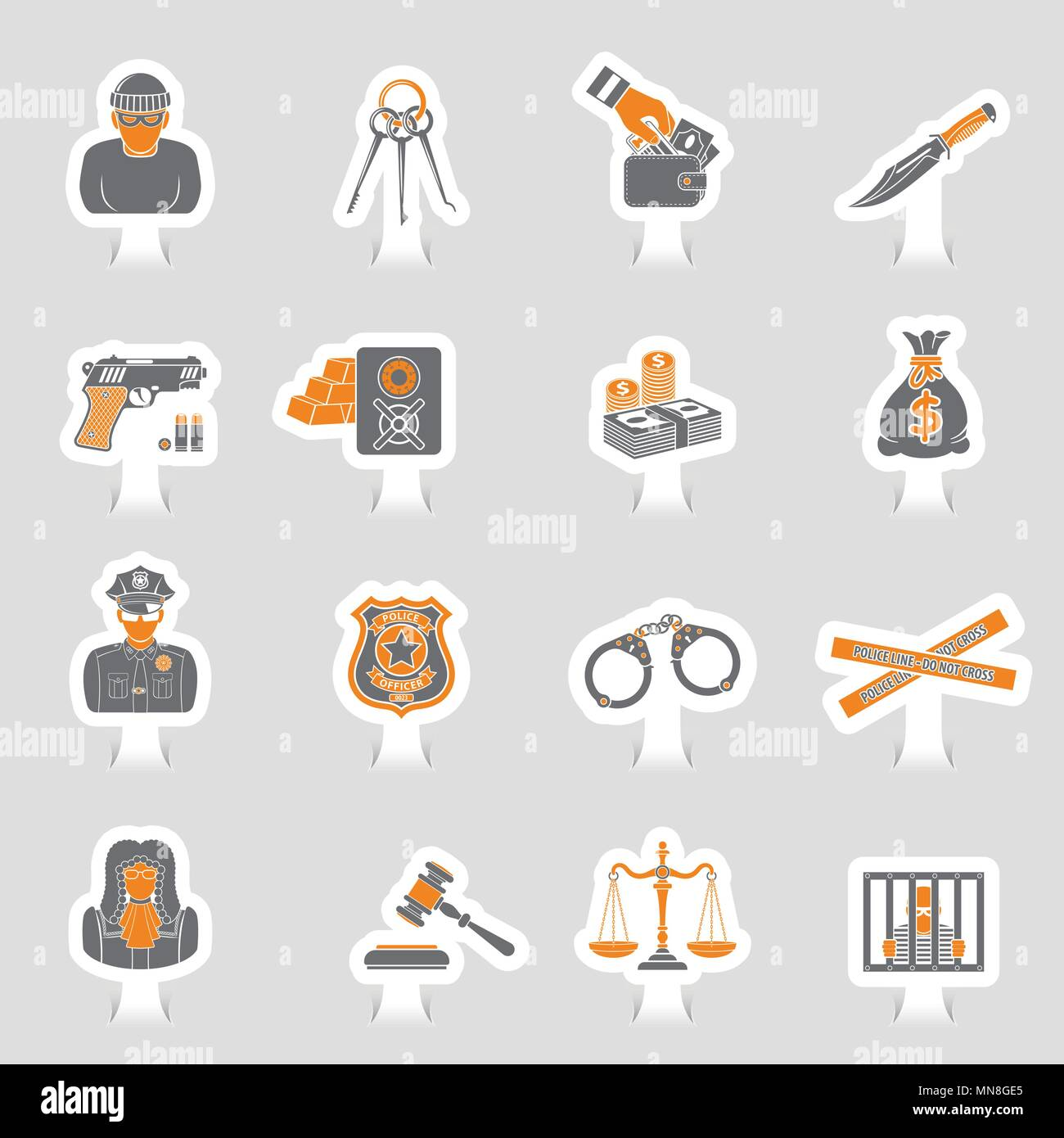 Crime and Punishment Icons Sticker Set - Stock Vector