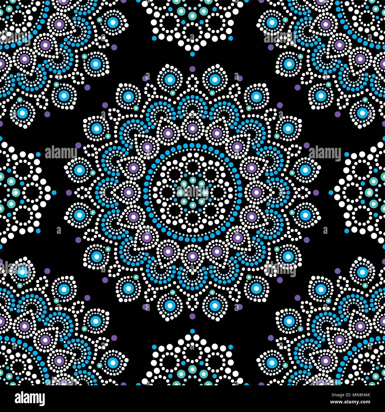 Dot painting vector seamless pattern with mandalas