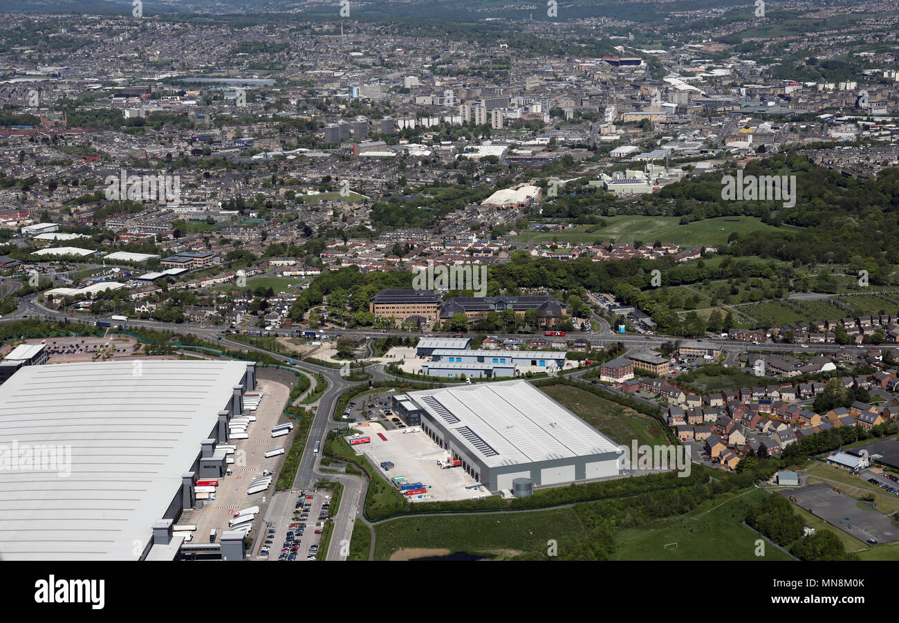 aerial view of P+B Foods Limited, Bradford, West Yorkshire, UK - Stock Image