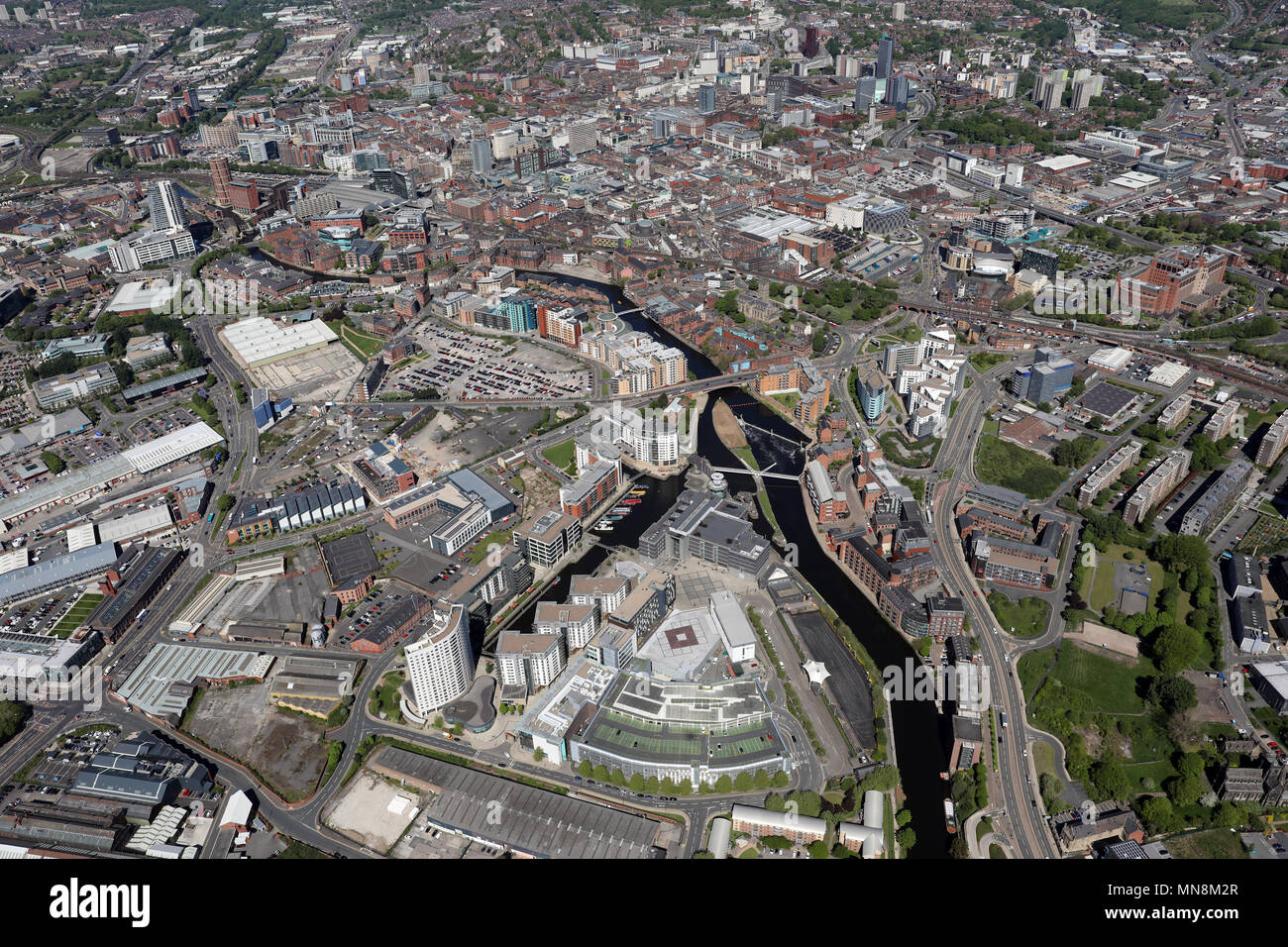 aerial view of Leeds Dock with Leeds city centre skyline in the background, UK - Stock Image