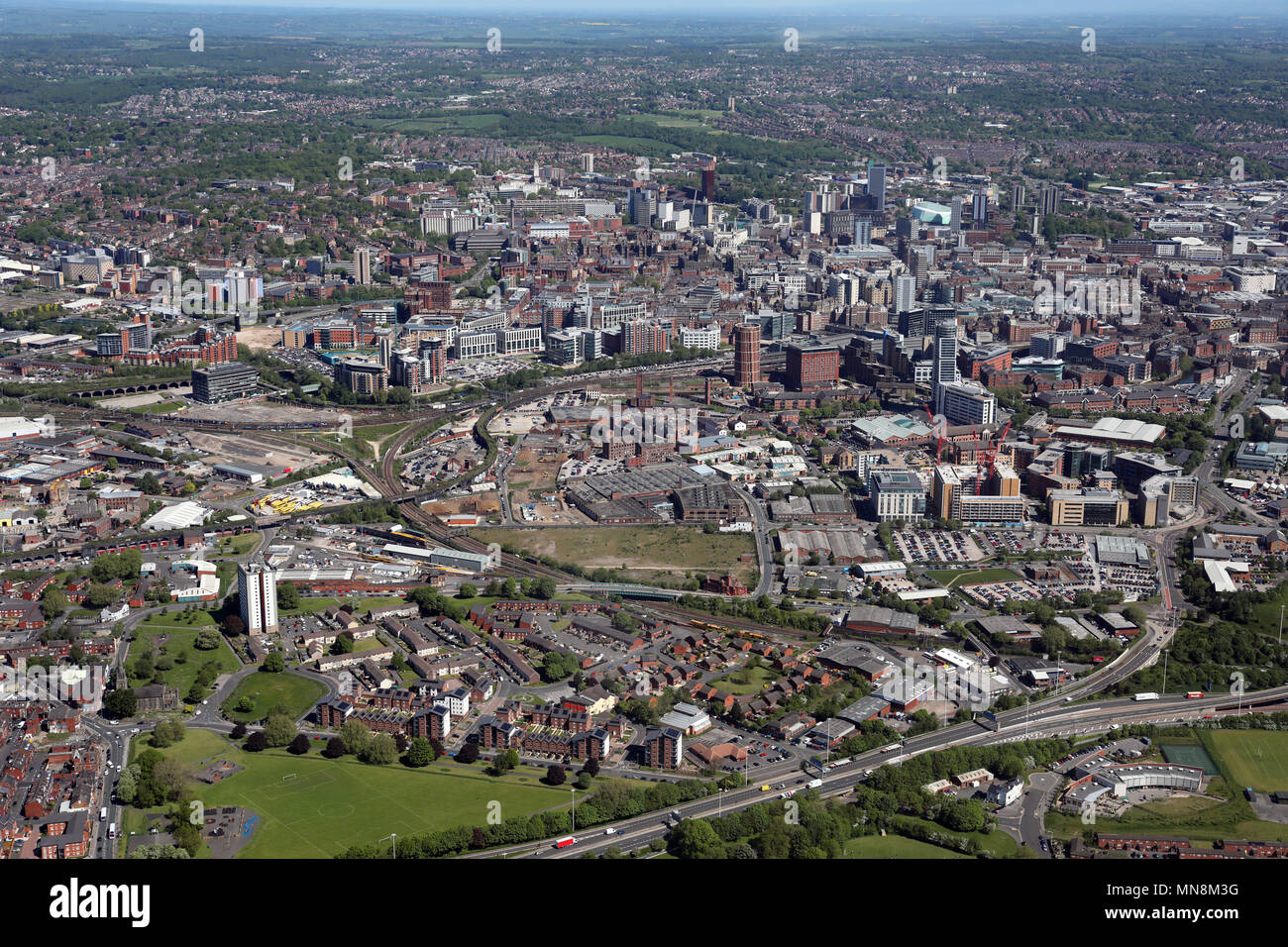 aerial view of Leeds city centre 2018 - Stock Image