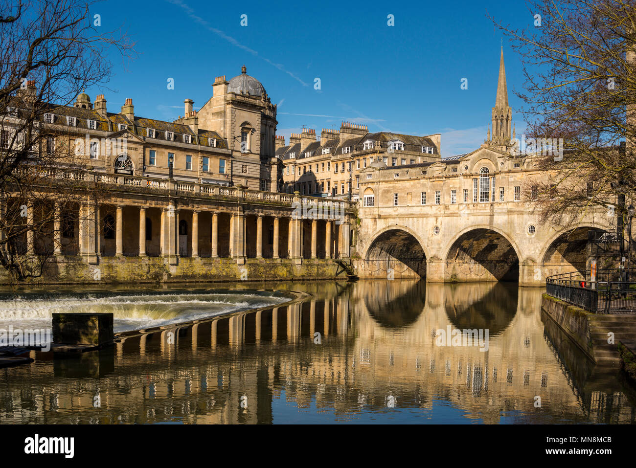 Cityscape of Bath depicting St Michael's Without Church, Pultney Bridge and River Avon, Somerset, UK - Stock Image