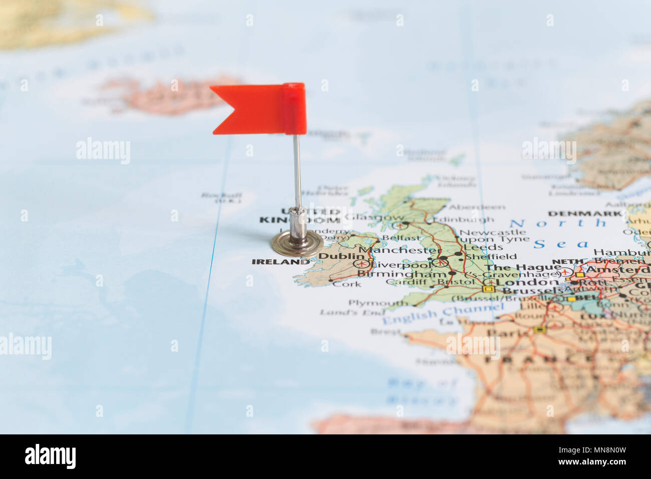 Small Map Of Ireland.Small Red Flag Marking Ireland On A World Map Stock Photo 185203561
