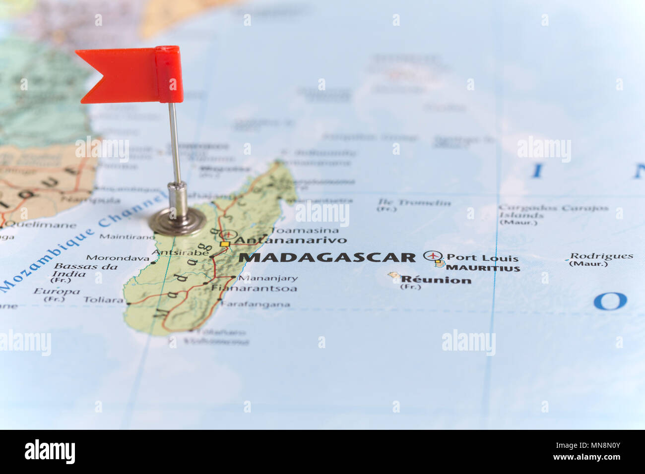Small red flag marking madagascar on a world map stock photo small red flag marking madagascar on a world map gumiabroncs Images