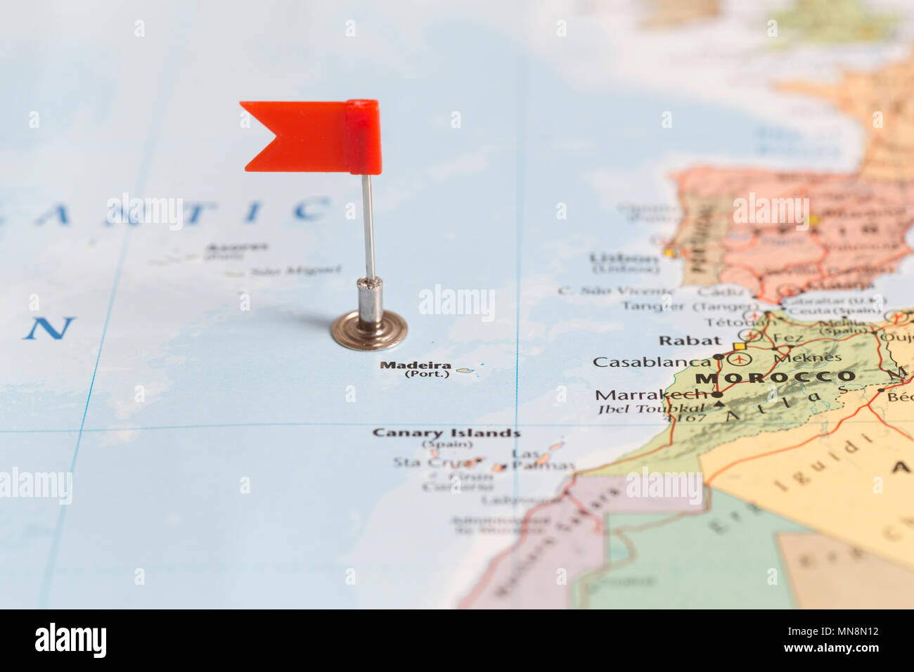 Small red flag marking island of Madeira on a world map Stock Photo ...