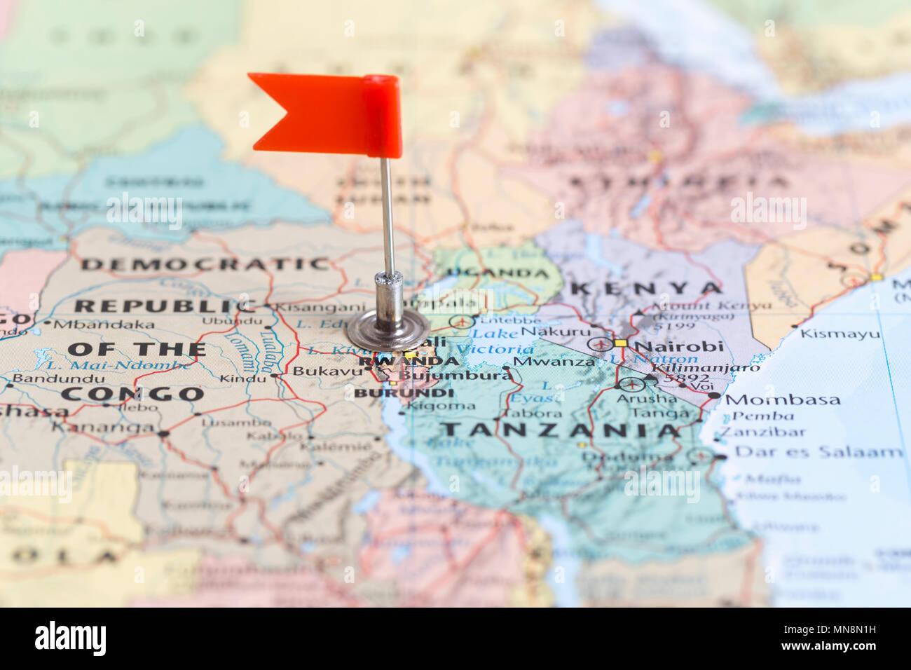 Image of: Small Red Flag Marking The African Country Of Rwanda On A World Map Stock Photo Alamy