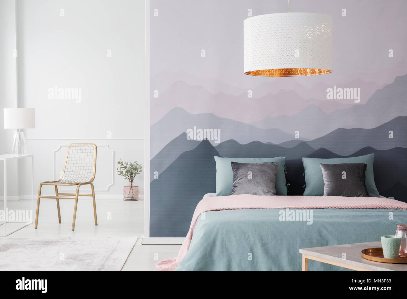 Prime White Lamp Above Pink And Green Bed In Spacious Bedroom Machost Co Dining Chair Design Ideas Machostcouk