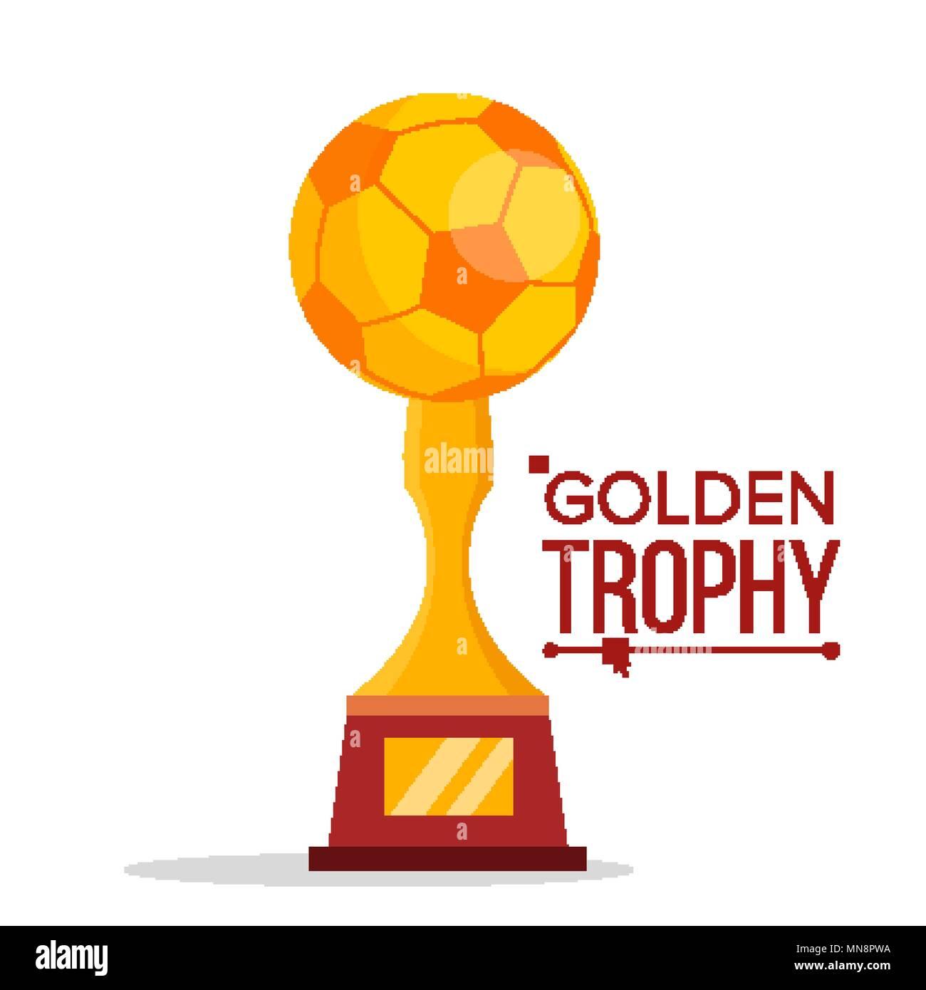 Soccer Golden Trophy Vector World Cup Event Football Ball Championship Design Element